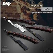 Vintage Folding Wooden Handle Scraper Barber Shaving Knife Razor Stainless Steel Blade Razor Men Shaving Barber Tools G1105