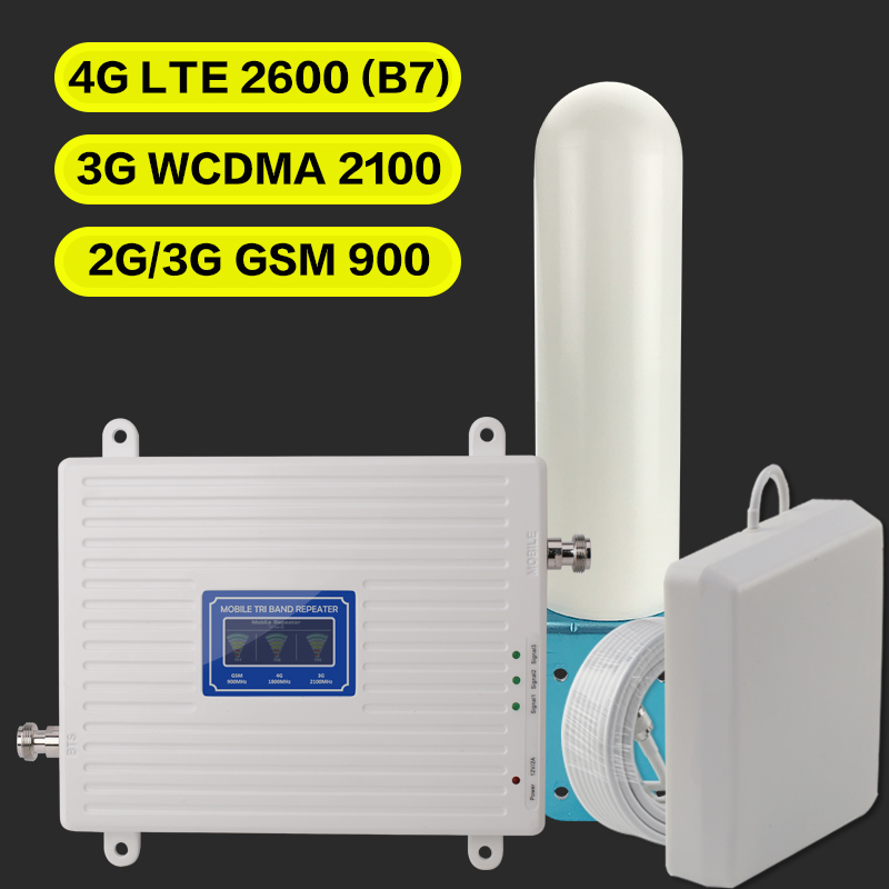 2G 3G 4G GSM 900 WCDMA FDD LTE 2600 Cell Phone Signal Booster GSM 3G 4G LTE 2600 Repeater 900 2100 2600 Cell Phone 2600 Booster