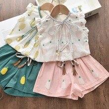 Летняя одежда для девочек, комплект для маленьких девочек, рубашка и шорты с ананасами, комплект детской одежды, одежда для девочек