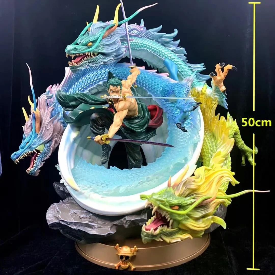 One Piece Roronoa Zoro 3 Dragons Tornado Ver. PVC Action Figure Collection Model Toys 50cm