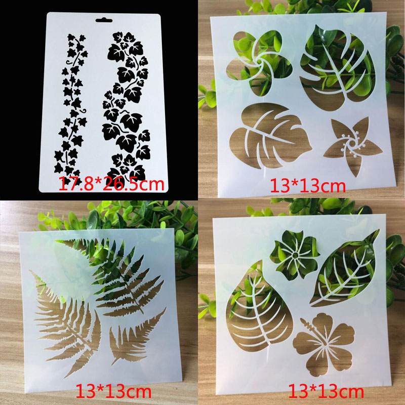 4pc/set Bullet Journal Stencils For Painting Leaves Template DIY Lace Drawing Mold Graffiti Template For Painting Decor Reusable