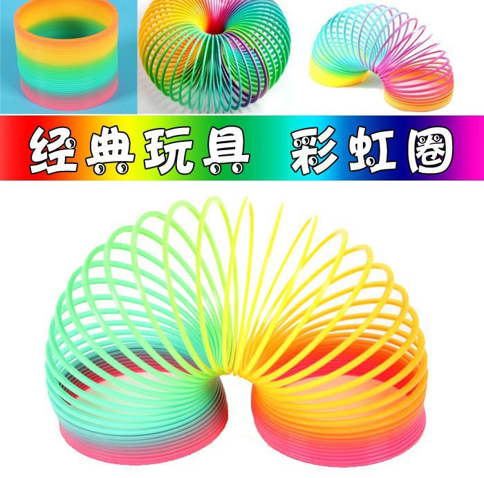 Classic Toy Ever-Changing Rainbow Ring Coil Plastic Coil Children Creative Educational Toy