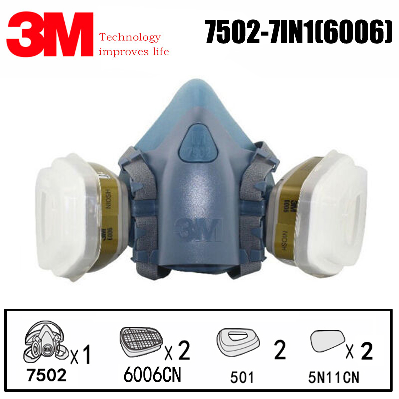 7 In 1 Suit <font><b>3M</b></font> 7502 With <font><b>6006</b></font> filter Box Anti-organic Vapor chlorine Hydrogen Chloride Hydrogen Sulfide Formaldehyde Gas Mask image