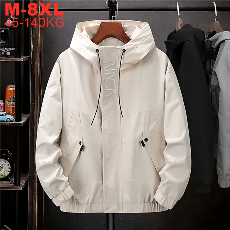 Plus Size 5xl 6xl 7xl 8xl Jackets Men Hooded Fashion Men's Thin Coat Hip Hop Outerwear Spring Autumn Casual Windbreaker Male