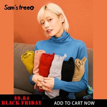 SAM'S TREE multicolore solide minimaliste Style décontracté tricot pull chandails femmes 2019 hiver pur à manches longues en vrac femme haut