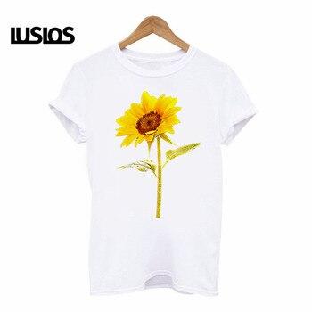 LUSLOS 2019 women t shirt plus size femme sunflower print hipster tshirt casual white harajuku streetwear t-shirts women clothes