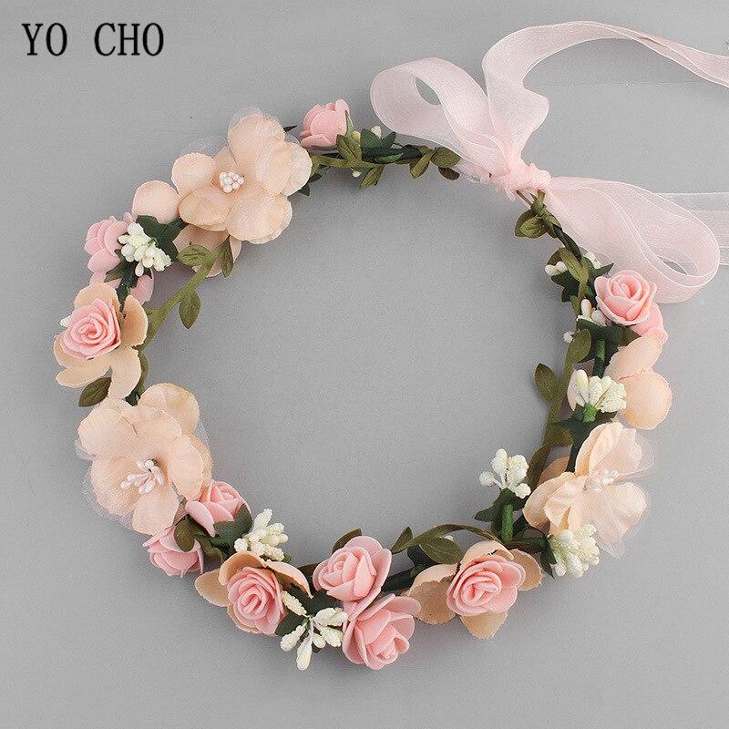 Meldel Wedding hair accessories foam rose bridal headband silk flower wreath handmade headband dress headdress