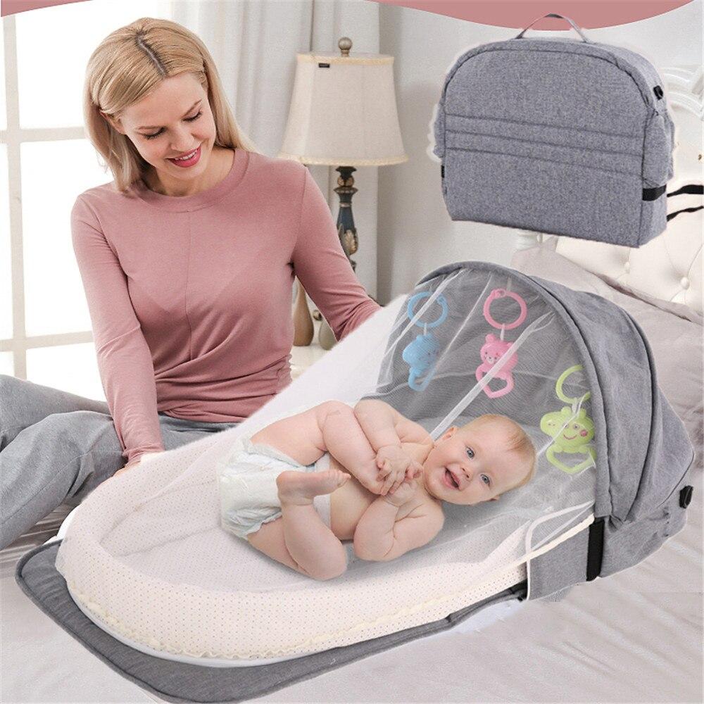 Cama de viagem do bebê saco de maternidade portátil berço do bebê camas de viagem mamãe mochila saco de fraldas envoltório mochilas saco de maternidade kit