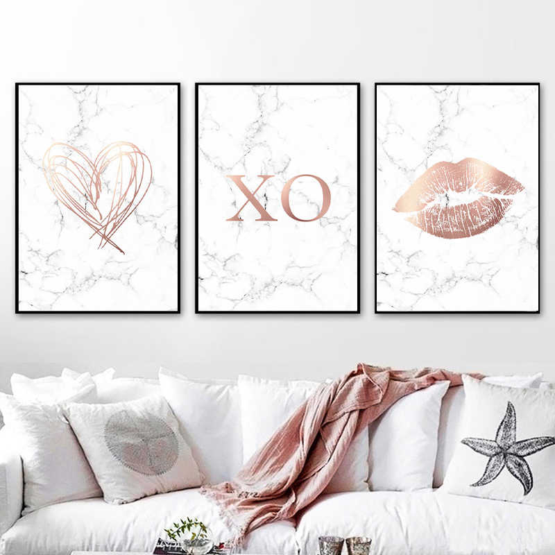 Rose Gold Marble Love Posters And Prints Bedroom Decor Modern Wall Art Canvas Painting Pictures For Living Room Home Decor Painting Calligraphy Aliexpress