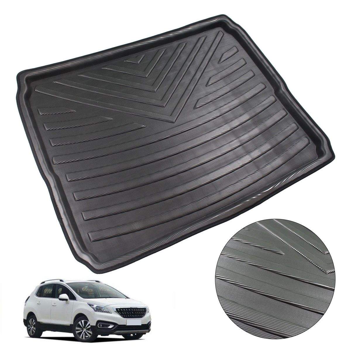 Car Interior Cargo Liner Boot Tray Rear Trunk Cover Matt Mat Floor Carpet Kick Pad For Peugeot 3008 2017 2018