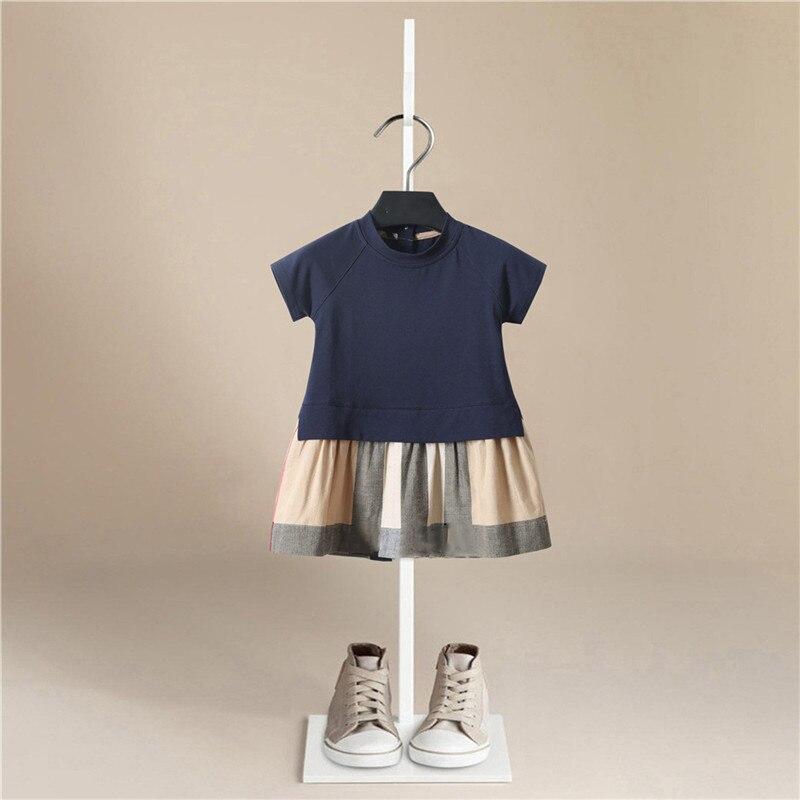 Baby Girl Cotton Round Neck Short Sleeve Stripe Lattice Dress