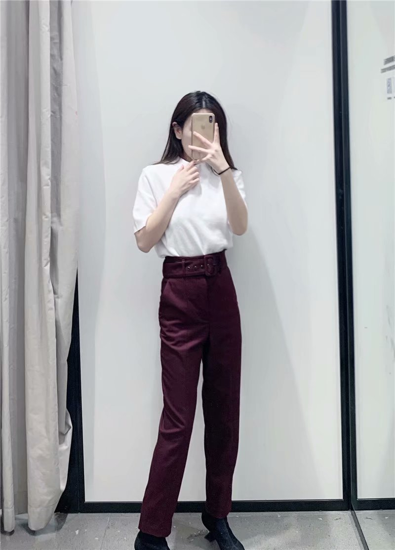 H783cacc4a826494da828e60d4027014ep - Office Lady Black Suit Pants With Belt Women High Waist Solid Long Trousers Fashion Pockets Pantalones FICUSRONG Pencil
