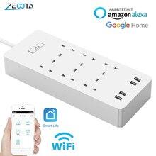 WiFi Smart Power Strip Защита от перенапряжения 6 AC UK Розетка с USB пультом дистанционного управления Homekit от Alexa Google Home