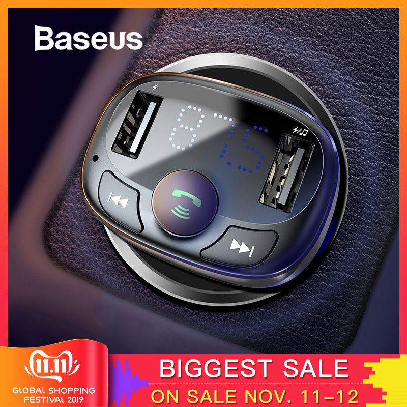 Baseus Car Charger for iPhone Mobile Phone Handsfree FM Transmitter Bluetooth Car Kit LCD MP3 Player Dual USB Car Phone Charger-in Car Chargers from Cellphones & Telecommunications
