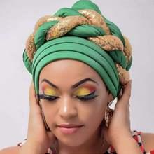 Latest  Shinning Sequins Turban Cap for Women Ready Female Head Wraps African Auto Geles Aso Oke Headtie Already Made Headties