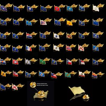 USA wszystkie 50 stany Metal emalia Pin i broszki stany przypinka do klapy flaga macha broszka odznaka Patriot Collectible tanie i dobre opinie Patriotyzmu Nowoczesne multicolor 2 1cm*1 9cm Clothing Tie Suit Travel Official All USA States