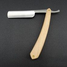 Blank Men Shaving Manual Straight Razor Classic Pure Beech Wood Handle Barber Razors Folding Knife Kapper Navalha De Barbeiro