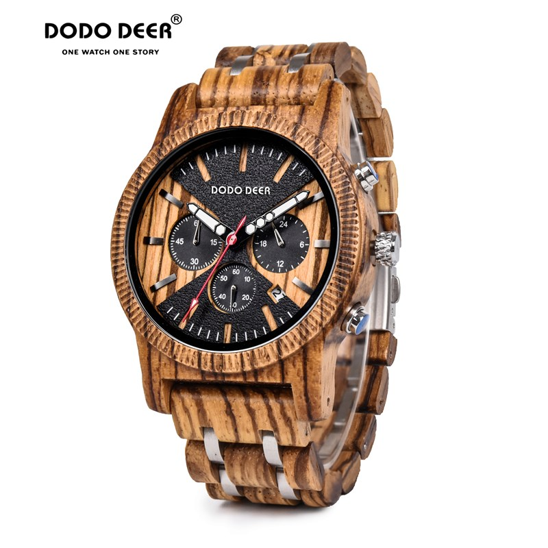 DODO DEER Men's Watch Wood Watches Men Clock Business Luxury Stop Watch Color Optional With Wood Stainless Steel Band C08 OEM
