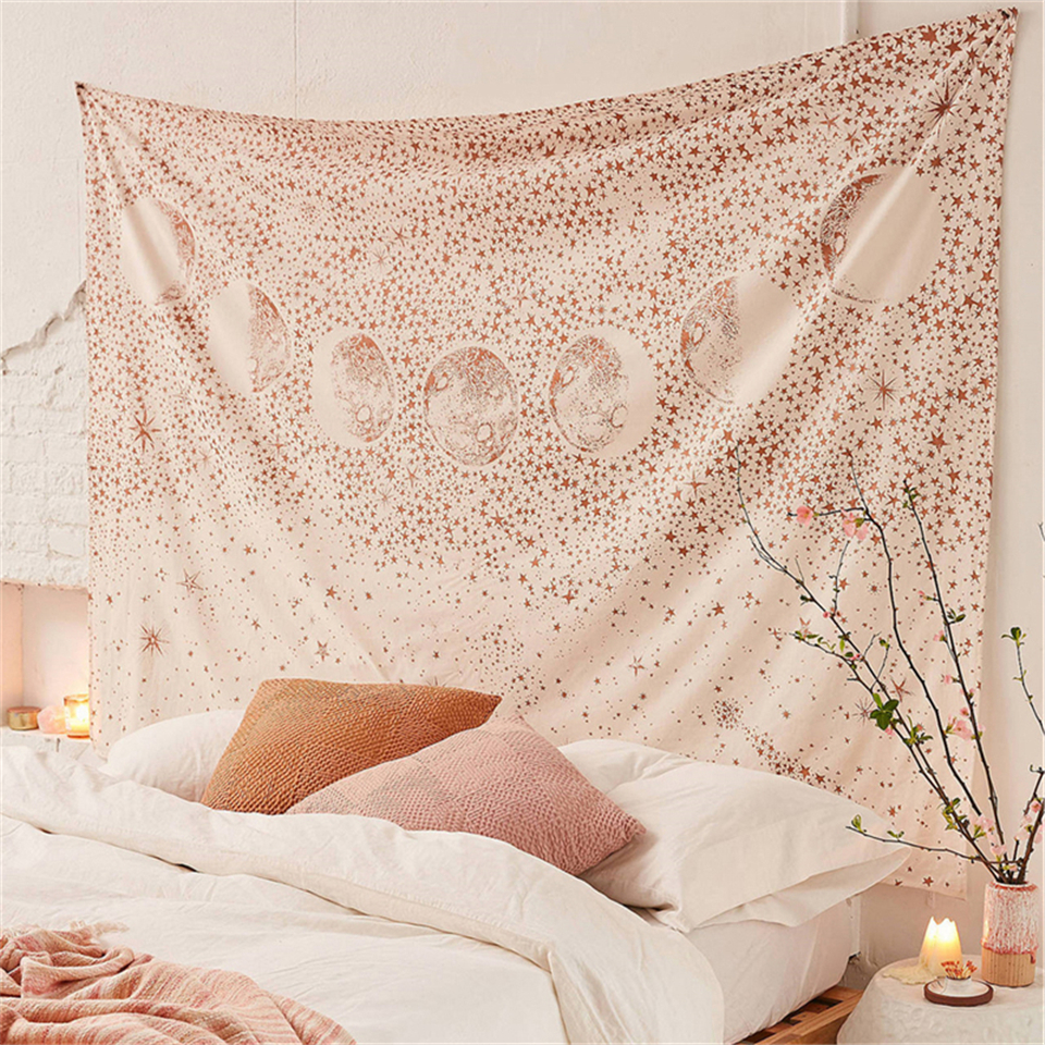 Psychedelic Pink Starry Sky Wall Carpet Tapestry Wall Hanging Moon Hippie Tapestry Mandala Floral Boho Decor Yoga Beach Blanket