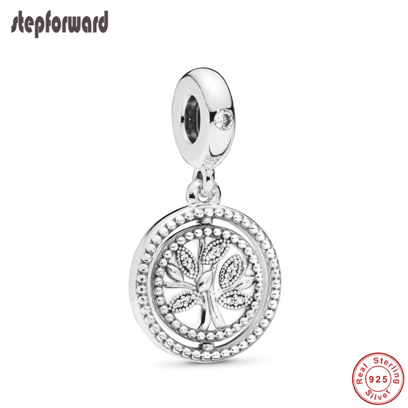 Step Forward 925 Silver Bracelet and Necklace Pendant Charm Jewelry for Women