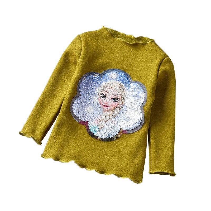 Little Girls Winter Shirt Long Sleeve Warm Shirt with Fleece Sequin Prinicess Elsa Shirts Children Tops Baby Girl Fashion Outfit 5
