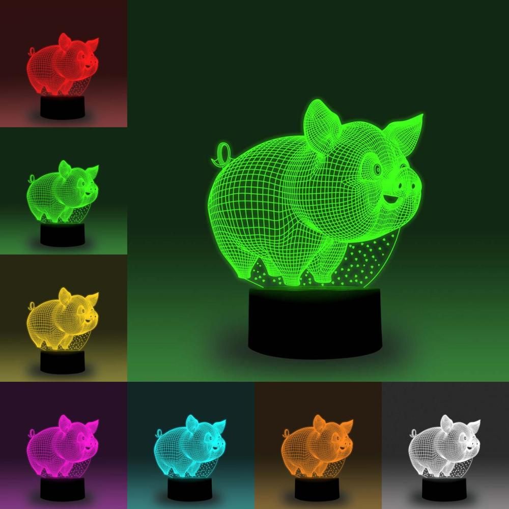 NiteApps 3D Cute Pig Night Light Desk Table Illusion Decoration Lamp Holiday Birthday Gift APP/Touch Control