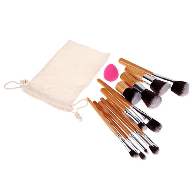 11Pcs Makeup Pen Professional Brushes Cosmetic Powder Eye Shadow Foundation Blush Beauty Make Up Brush + Sponge Puff