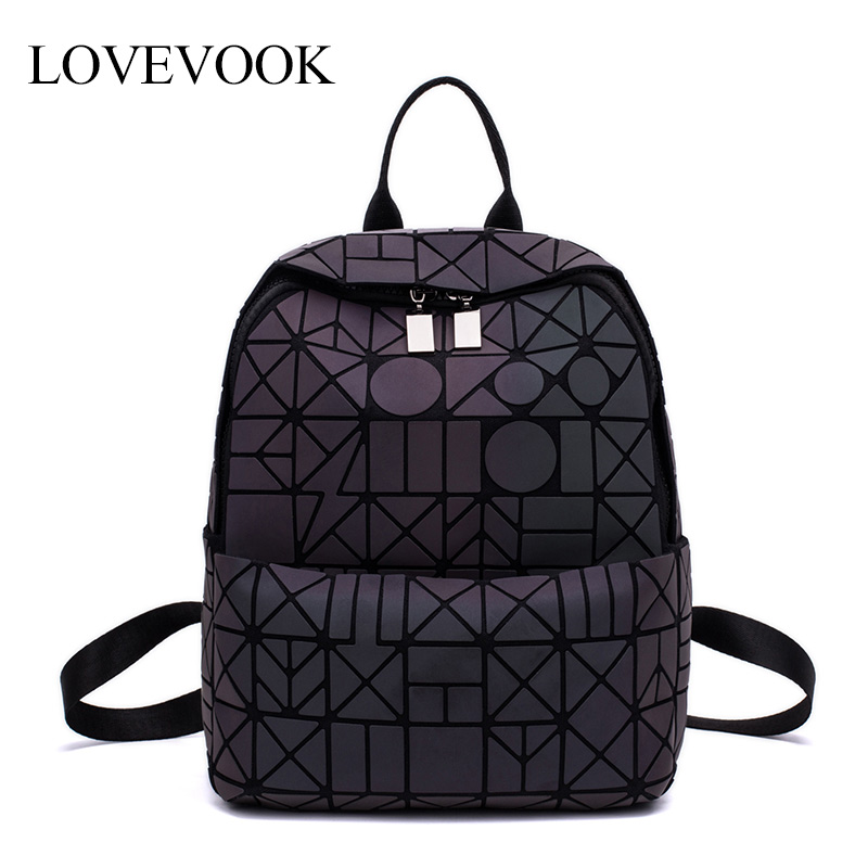 Women Backpack Geometric School-Bag Teenagers Small Girls No LOVEVOOK for Foldable Holographic-Refretion