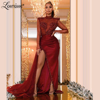 High Neck Glitter Sparkly Evening Dresses Illusion Burgundy Party Dress With Handmade Beaded Crystal 2020 Prom Dresses Gown Robe