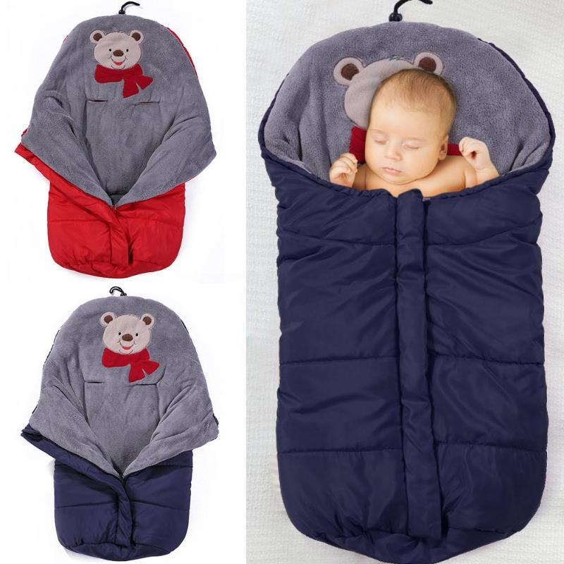 Baby Waterproof Sleeping Bag Polyester Fibers Coral Velvet One-way Fastener Thick Cover With Zip Universal Stroller Accessories