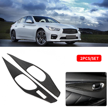 2Pcs Carbon Fiber Car Door Handle Bowl Cover Trim Decoration Sticker For Infiniti Q60 1994-2009 Interior Mouldings Car Styling