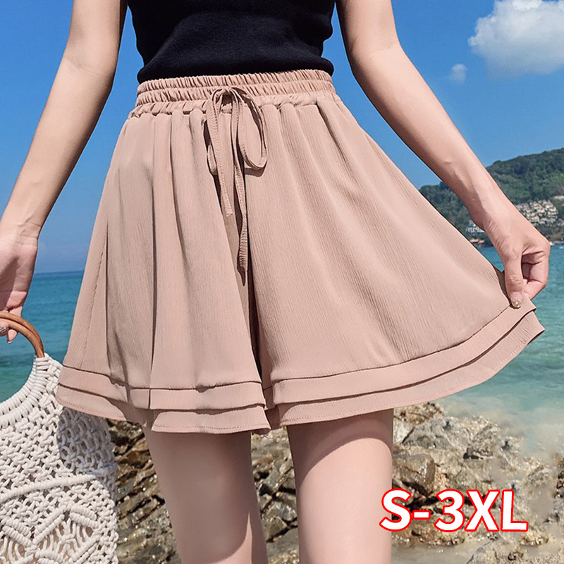 2020 New Summer Chiffon Shorts Korean Ladies Double Layer High Waist Wide Leg Shorts Casual Loose Skirt Short For Women