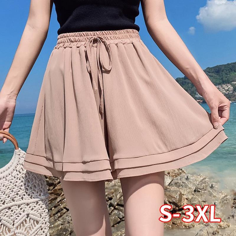 2020 New Summer Chiffon Shorts Korean Ladies Double Layer High Waist Wide Leg Shorts Casual Loose Skirt Short For Women
