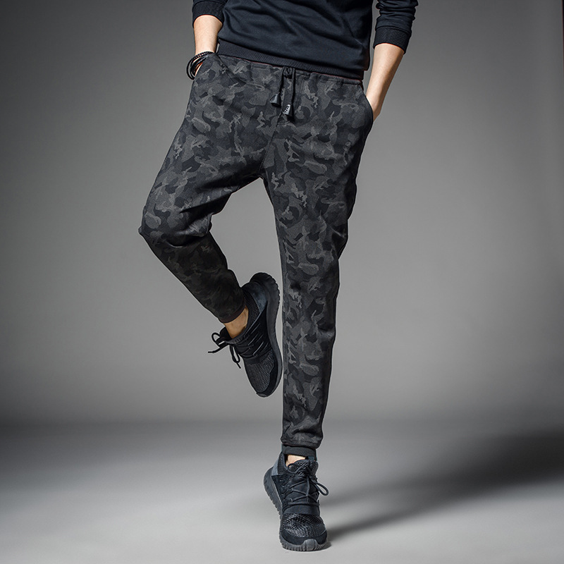 Hot Selling 2018 Autumn And Winter New Style Men Brushed And Thick Japanese-style Camouflage Casual Pants Young MEN'S Skinny Pan