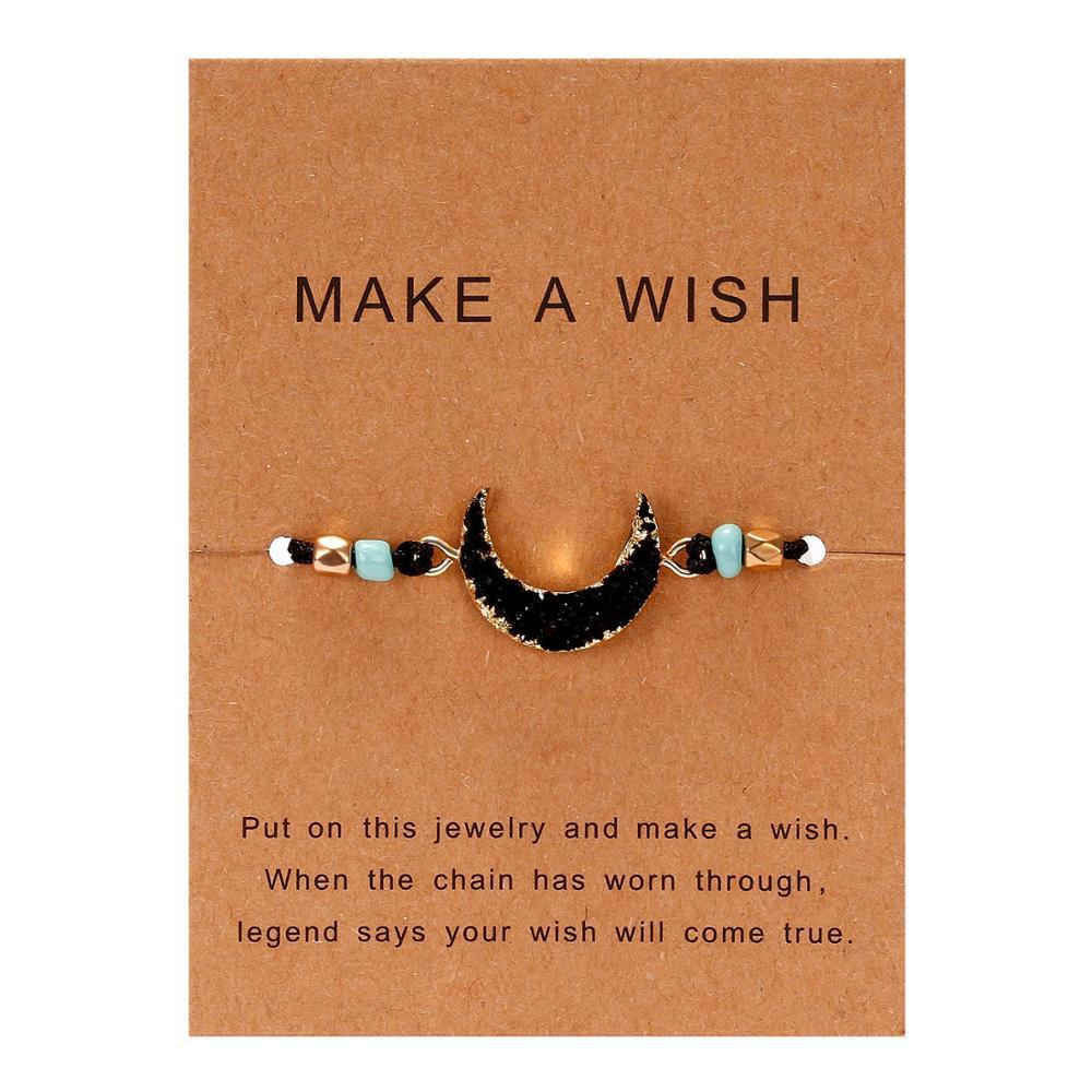 Для женщин браслеты на удачу бисера красная строка натуральный камень ткань браслеты мужчин ручной работы интимные аксессуары с карты - Окраска металла: dark moon