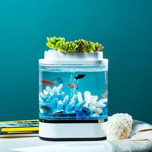 Image 5 - Мини аквариум Xiaomi mijia с геометрическим рисунком, самоочищающийся светодиодный светильник для дома и офиса, зарядка через USB