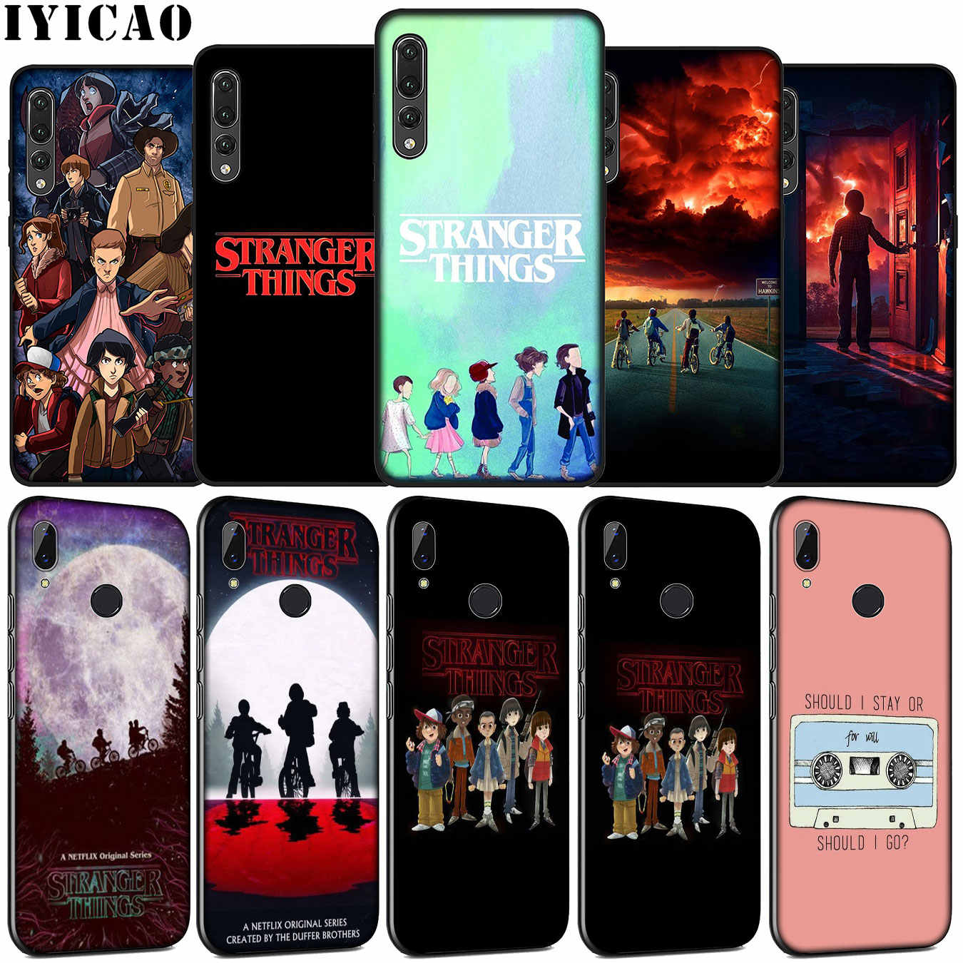 IYICAO Stranger Things TV Soft Silicone Case for Huawei P30 P20 Pro P10 P9 Lite Mini 2017 2016 Black Cover P Smart Z 2019