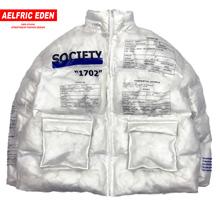 Aelfric Eden PVC Transparent Parka Men Letter Printed Casual Hip Hop Padded Jackets Mens Harajuku Coat Windbreaker Streetwear