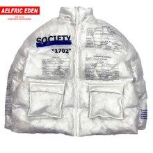 Aelfric Eden PVC şeffaf Parka erkekler mektubu baskılı rahat Hip Hop yastıklı ceketler erkek Harajuku ceket rüzgarlık Streetwear