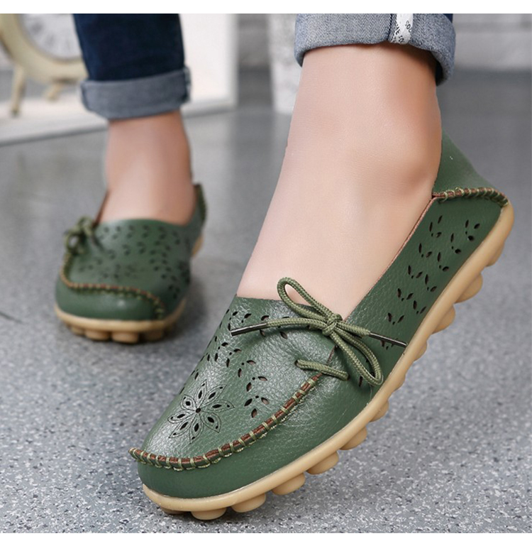Apartamentos femininos sapatos de couro genuíno mulher