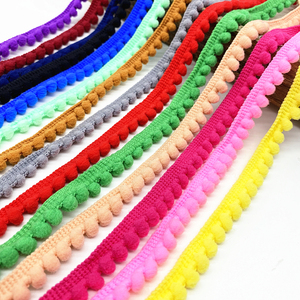 2 yards Pom Pom Trim Ball 11 mm Pompom Fringe Ribbon Sewing Lace Kintted Fabric Handmade Craft Accessories