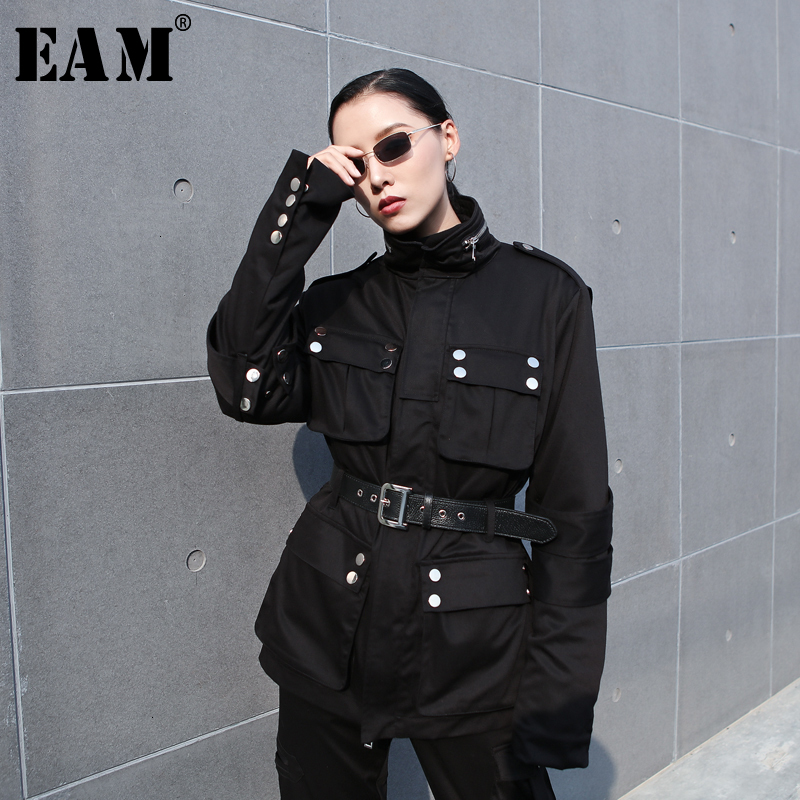 [EAM] Loose Fit Black Split Big Size With Fleece Jacket New Stand Collar Long Sleeve Women Coat Fashion Spring Autumn 2020 1M683