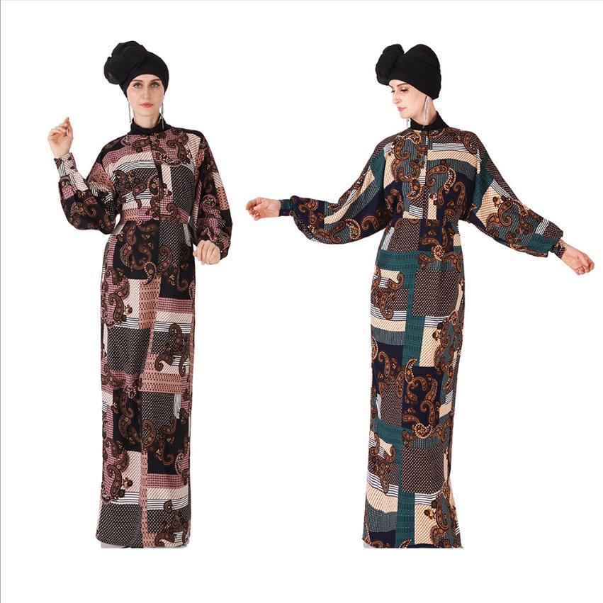 Floral Printed Muslim Breast Feeding Robe Syari Female Full Length Zipper Stitcing On Front Islamic Abayas With Belt Wq2035