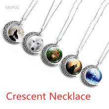 Fashion Full Moon Aggressive Wolf Pattern Crescent Pendant Necklace Glass Cabochon Dome Accessories Jewelry Birthday Gift