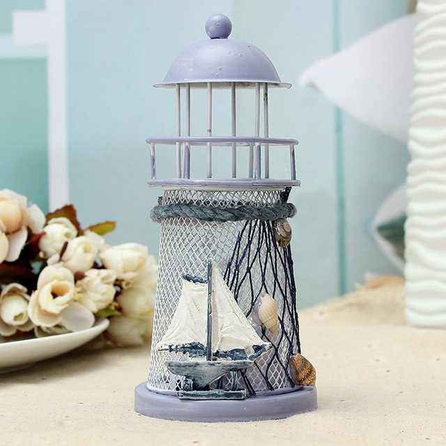 1 Piece Wrought Iron Nautical Lighthouse Lantern Candle Holders Sea Theme Home Cafe Tabletop Centerpieces 4