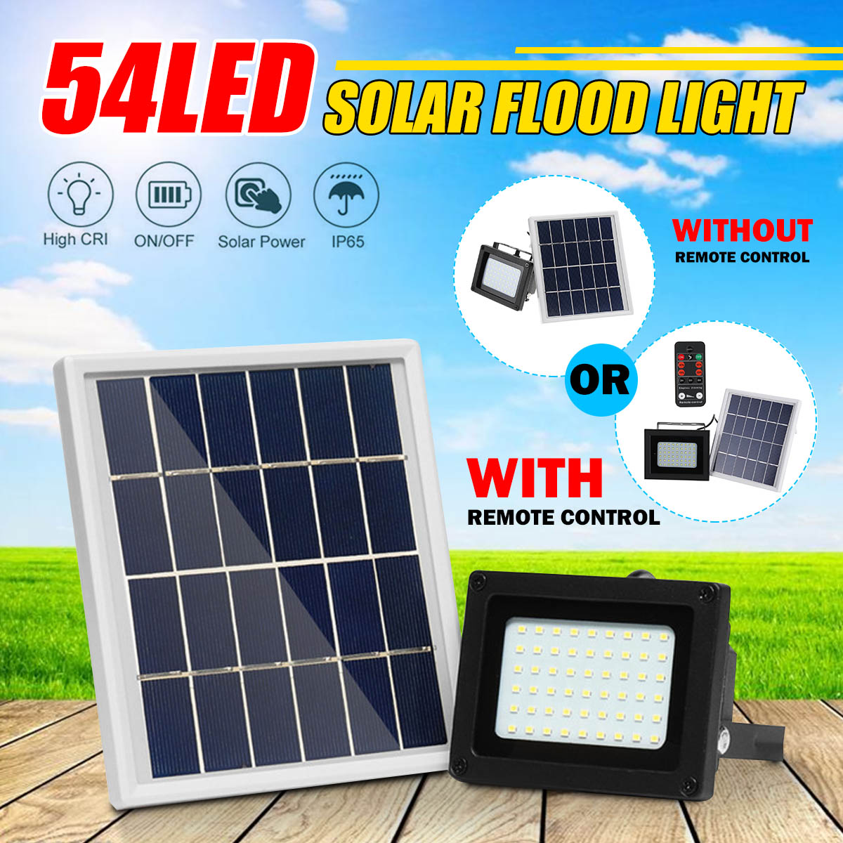 10W 54LED Solar Flood Light Sensor Spotlight IP65 Waterproof Outdoor Lamp Security Yard Garden Wall Lamps Solar Night Lighting