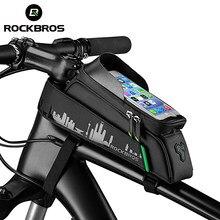 ROCKBROS bisiklet çantası ön telefonu bisiklet çantası bisiklet için tüp su geçirmez dokunmatik ekran eyer paketi 6.5 inç bisiklet aksesuarları