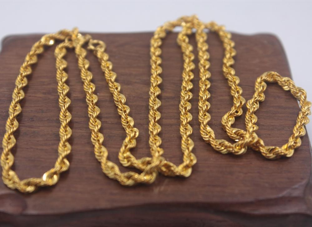 Image 5 - Real Pure 18K Yellow Gold Chain 3mmW Rope Women's Link Wealthy 23.6''L Gift New-in Necklaces from Jewelry & Accessories