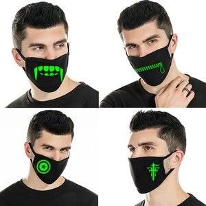 Светящаяся маска для лица с декором на Хэллоуин зимняя теплая Пыленепроницаемая ветрозащитная наружная маска светящаяся в темноте смываем...