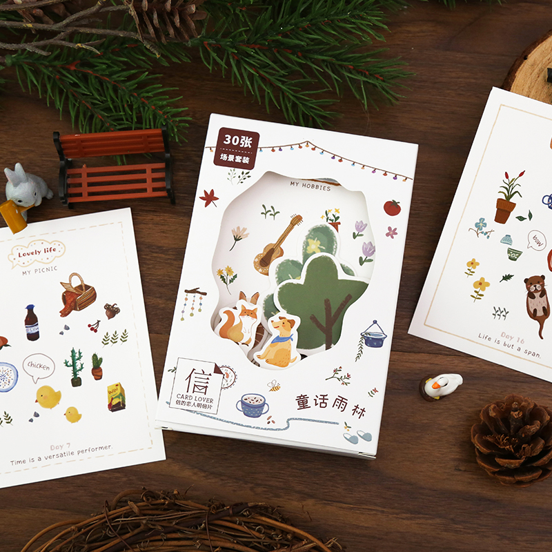 30 Pcs/Set Fairy Forest Scene Series Postcard Cartoon Animals Greeting Cards Bookmarks DIY Journal Decoration Gift Card